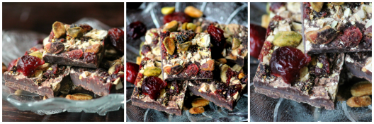Spicy Dark Chocolate with Cranberries and Pistachios Collage